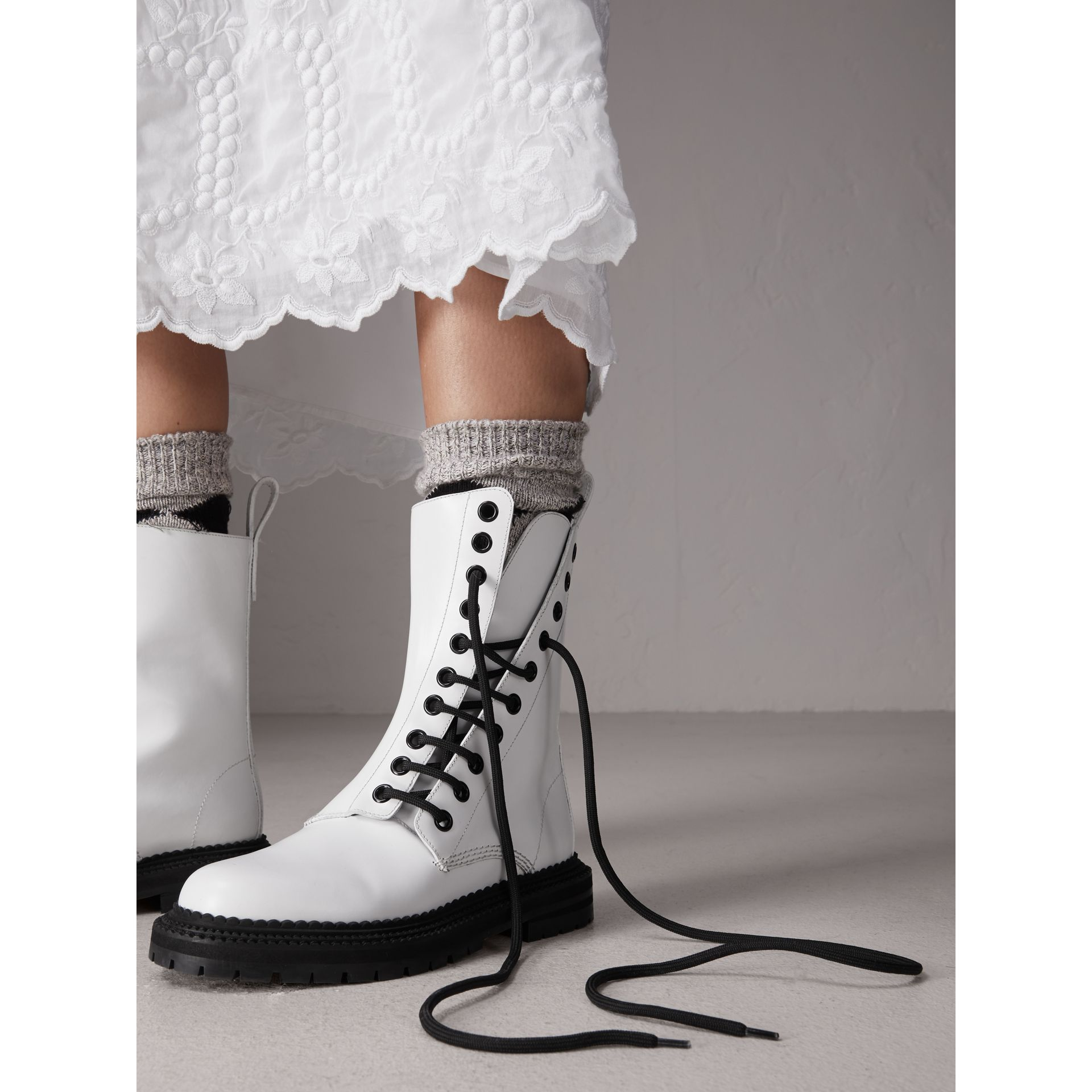 Leather Asymmetric Lace-up Boots in Optic White - Women | Burberry - gallery image 2