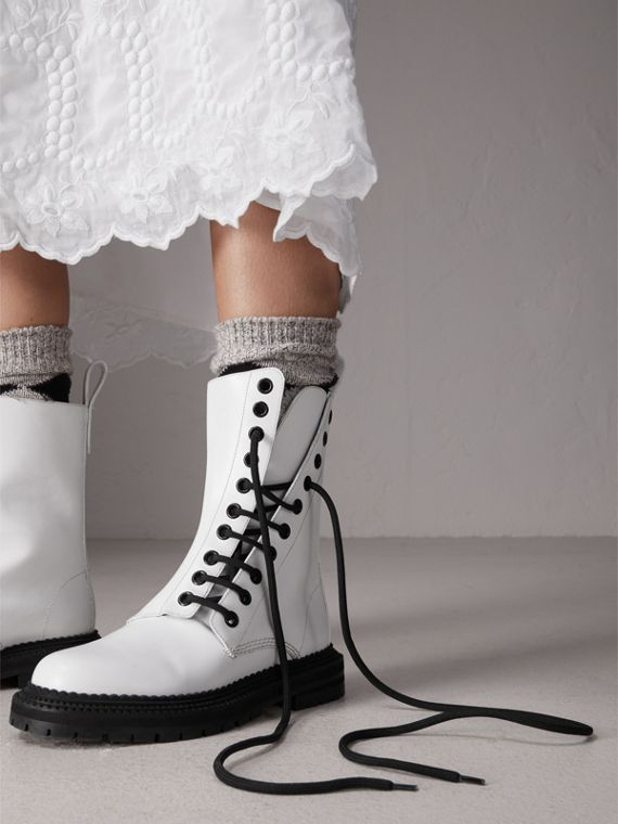 Leather Asymmetric Lace-up Boots in Optic White - Women | Burberry Canada - cell image 2