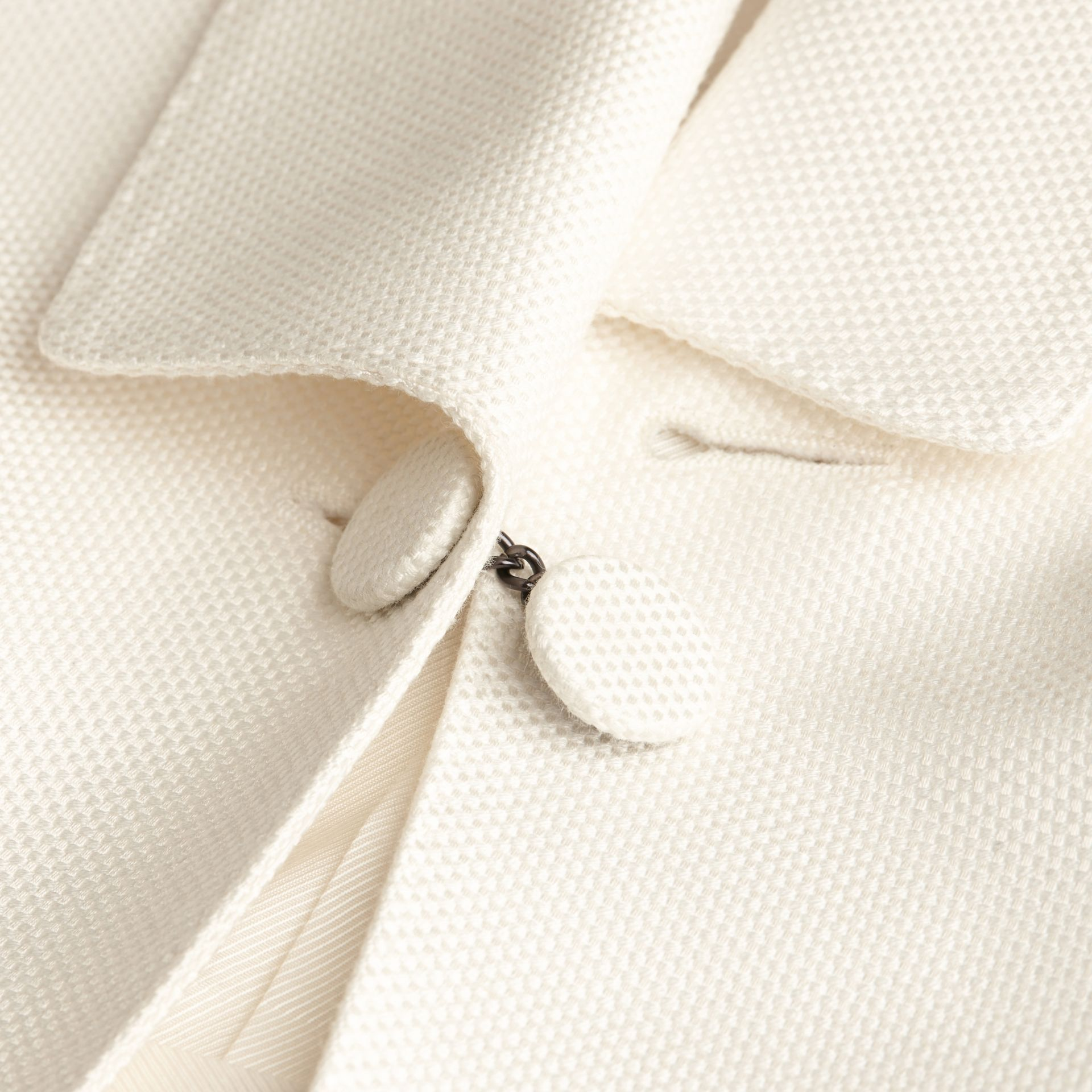 Natural white Slim Fit Cotton Silk Half-canvas Tuxedo Jacket - gallery image 2