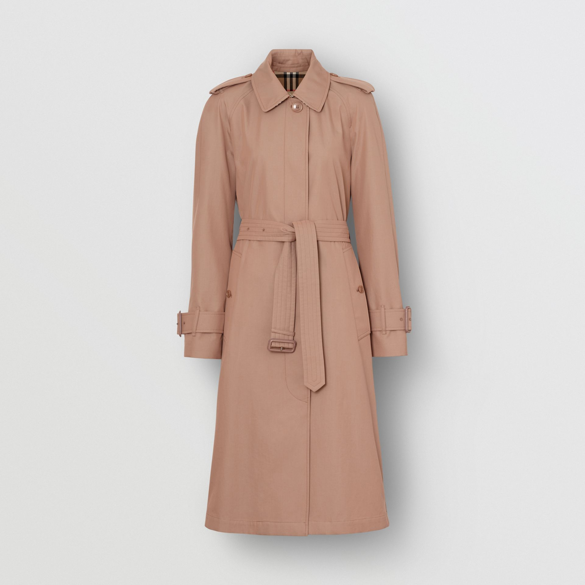 Tropical Gabardine Belted Car Coat in Pink Apricot - Women | Burberry - gallery image 3