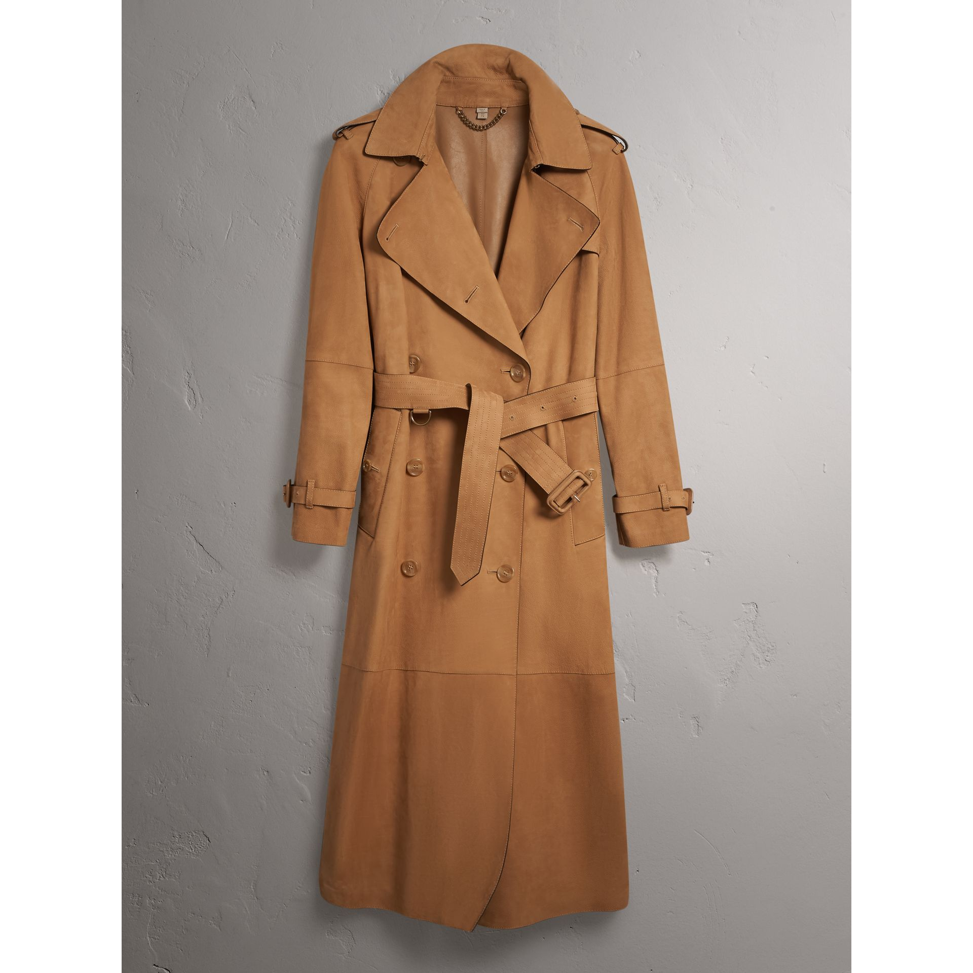 Nubuck Trench Coat in Caramel - Women | Burberry - gallery image 3
