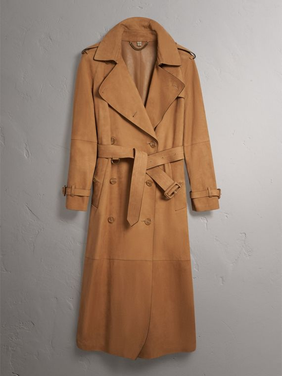 Nubuck Trench Coat in Caramel - Women | Burberry Hong Kong - cell image 3