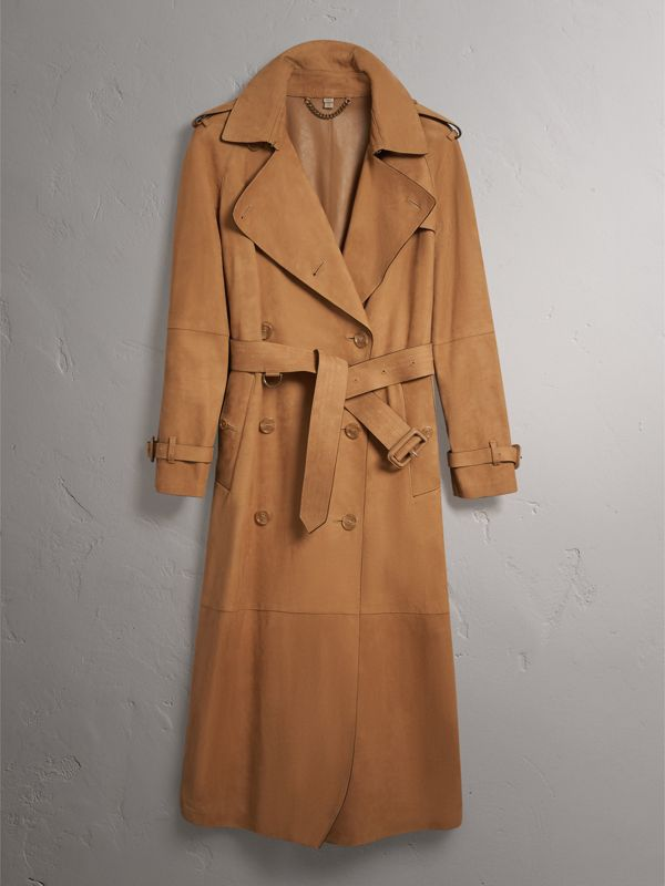 Nubuck Trench Coat in Caramel - Women | Burberry - cell image 3