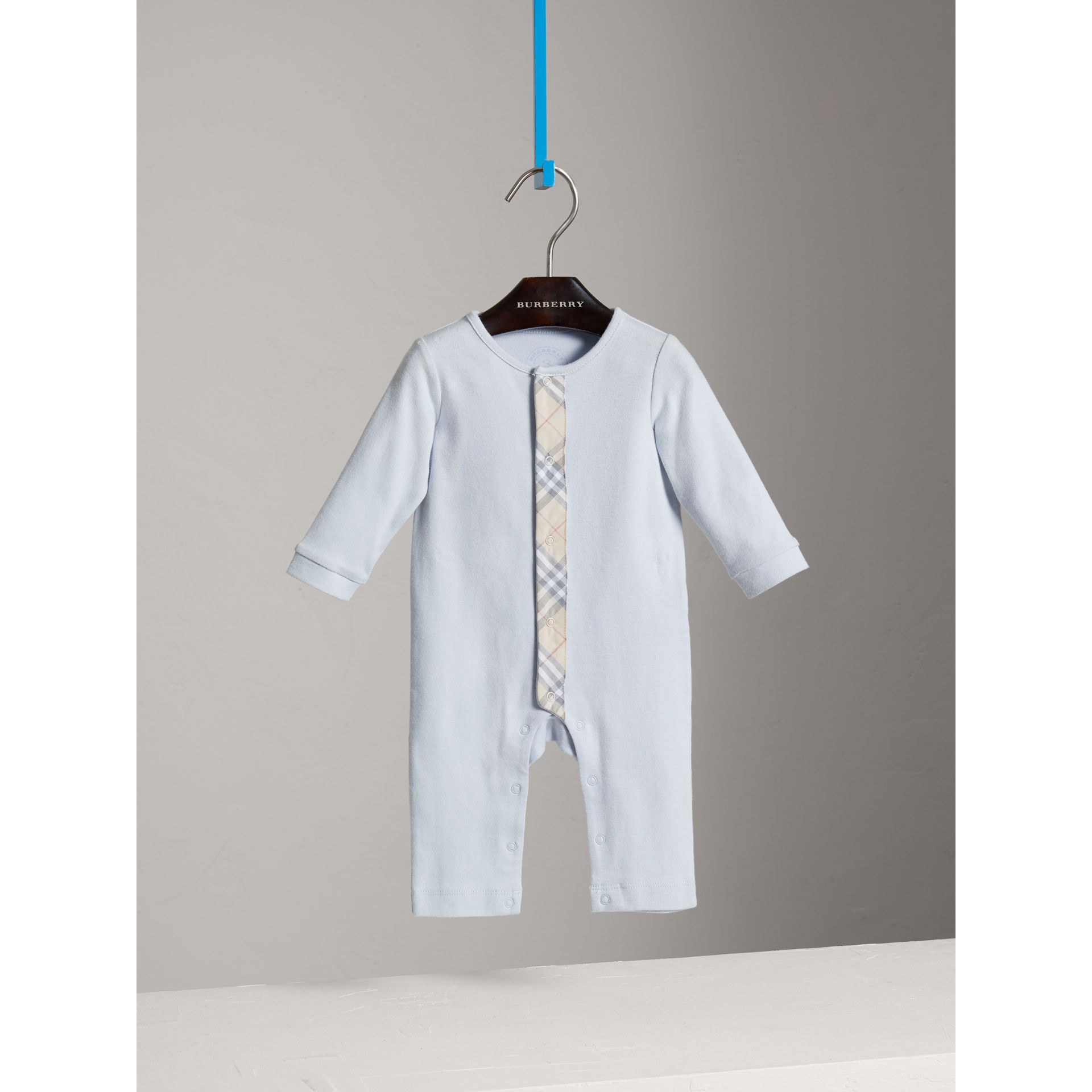 Check Trim Cotton Jumpsuit in Ice Blue - Children | Burberry - gallery image 0