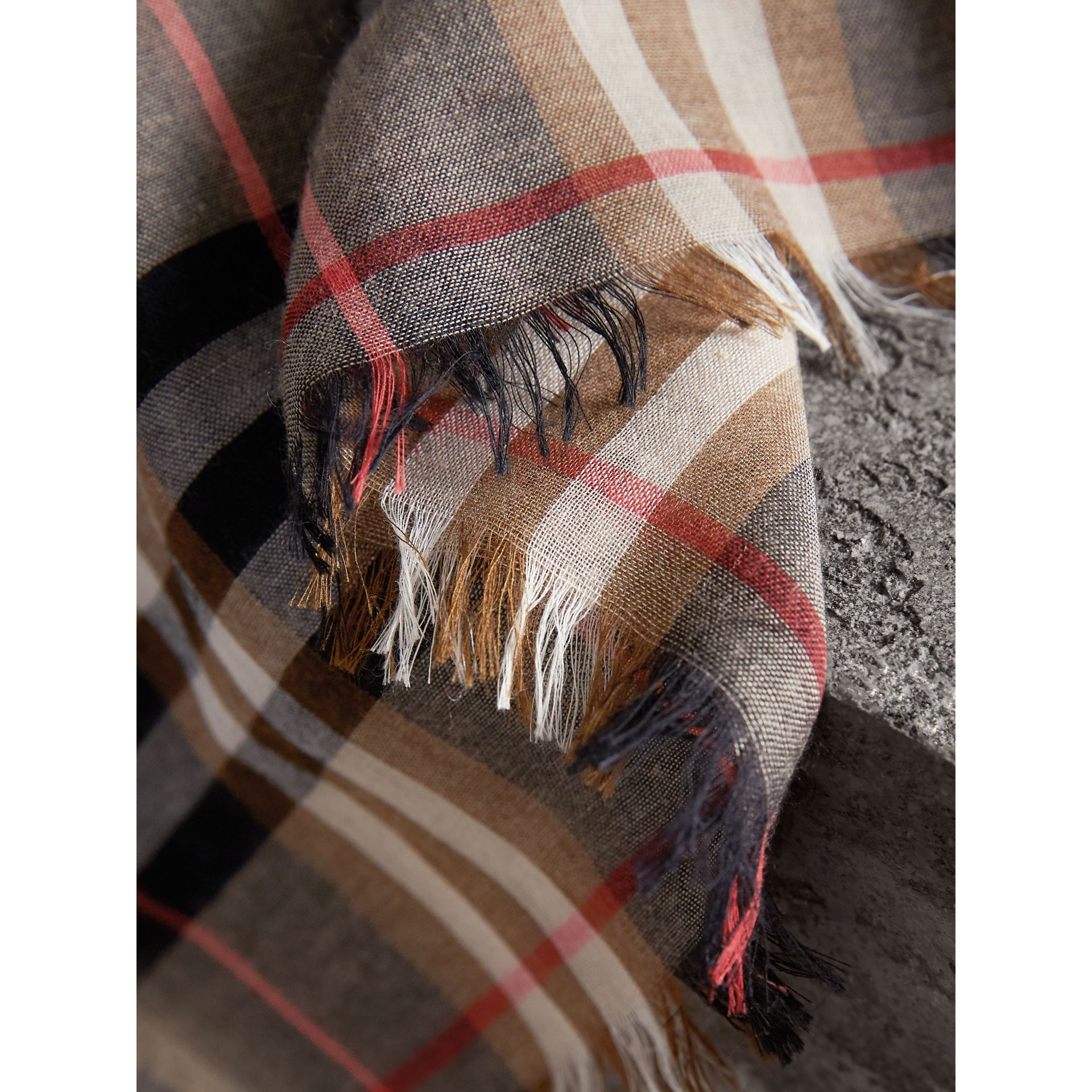 Check Modal and Wool Square Scarf in Camel - Women | Burberry - gallery image 2