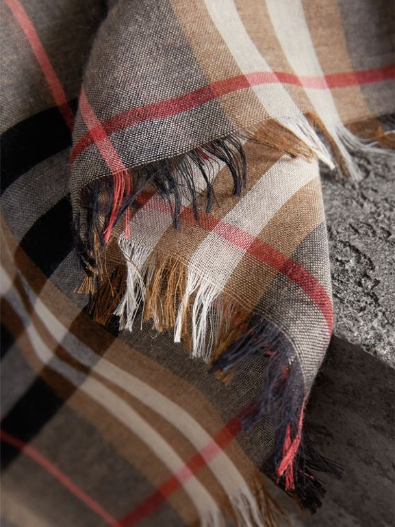 Check Modal and Wool Square Scarf in Camel | Burberry - cell image 1