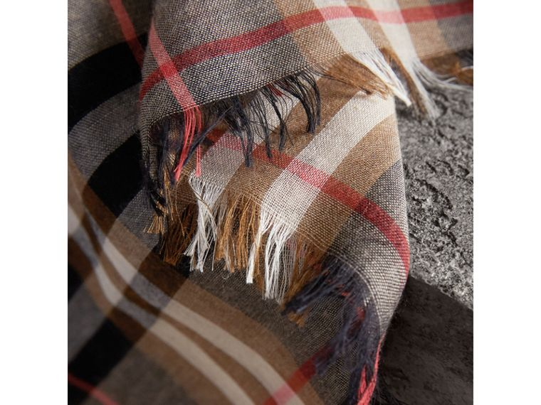 Check Modal and Wool Square Scarf in Camel - Women | Burberry - cell image 1