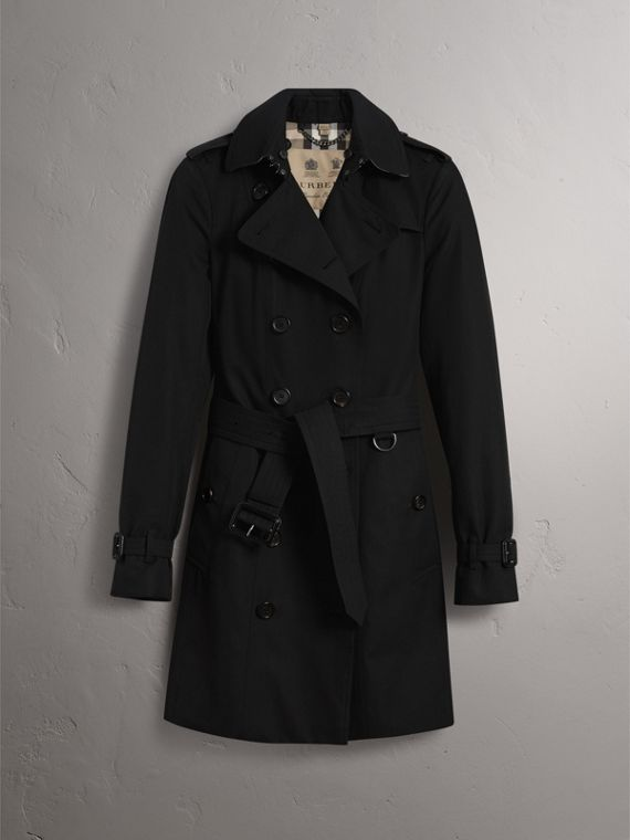 The Sandringham – Mid-Length Heritage Trench Coat in Black - Women | Burberry Hong Kong - cell image 3
