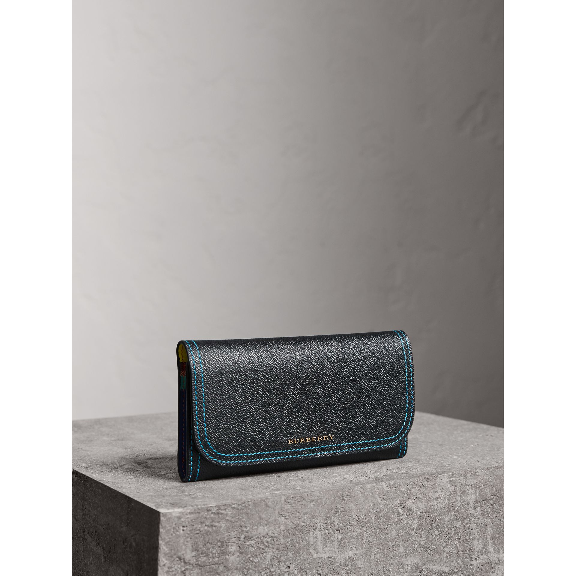 Colour Block Continental Wallet and Coin Case in Black/multicolour - Women | Burberry - gallery image 0