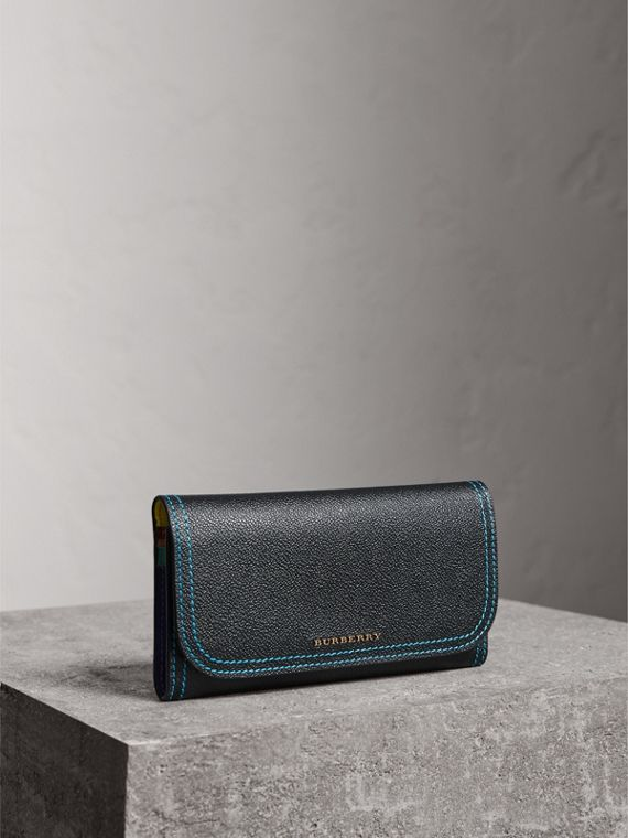 Colour Block Continental Wallet and Coin Case in Black/multicolour