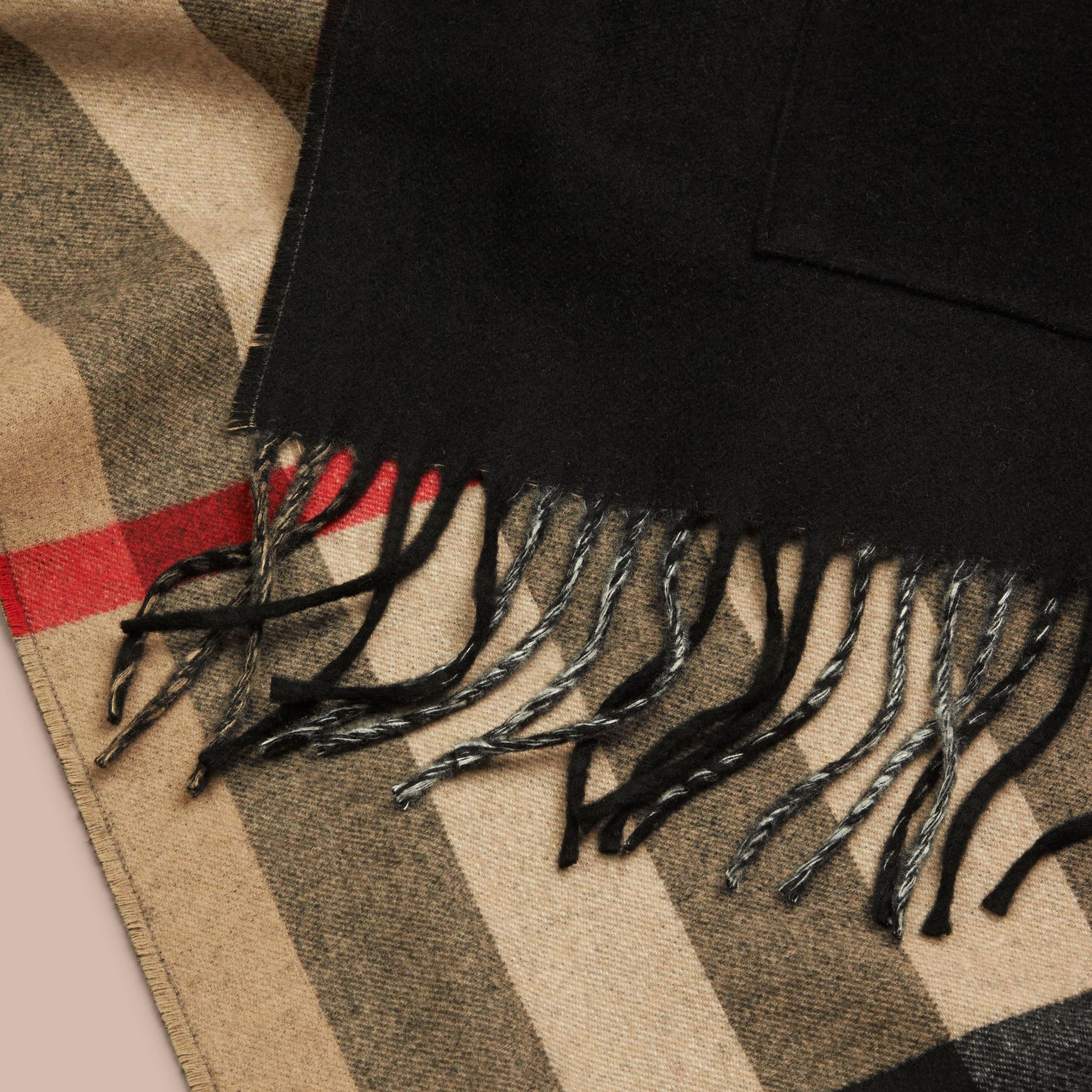 Black Check Lined Wool Cashmere Stole Black - gallery image 2