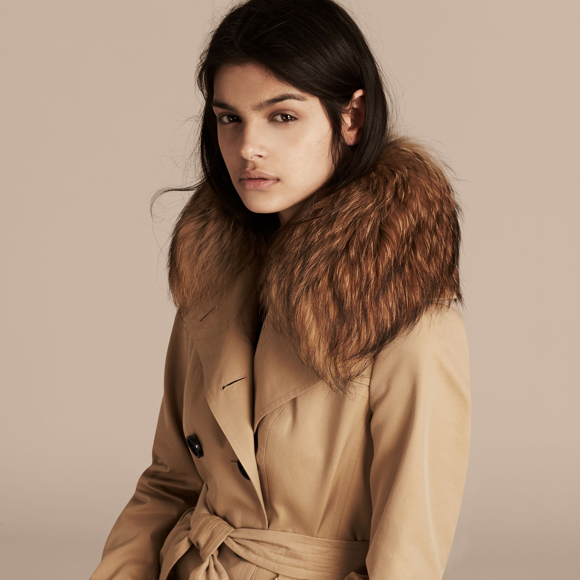 Honey Cotton Gabardine Trench Coat with Detachable Raccoon Collar - gallery image 5