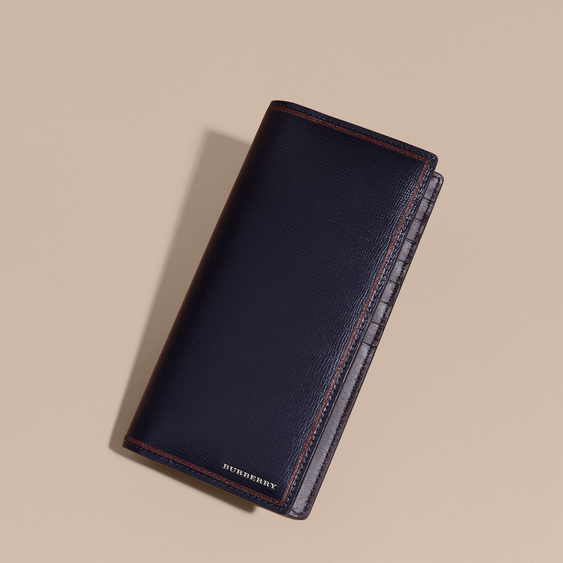 Dark navy Border Detail London Leather Continental Wallet Dark Navy - gallery image 6