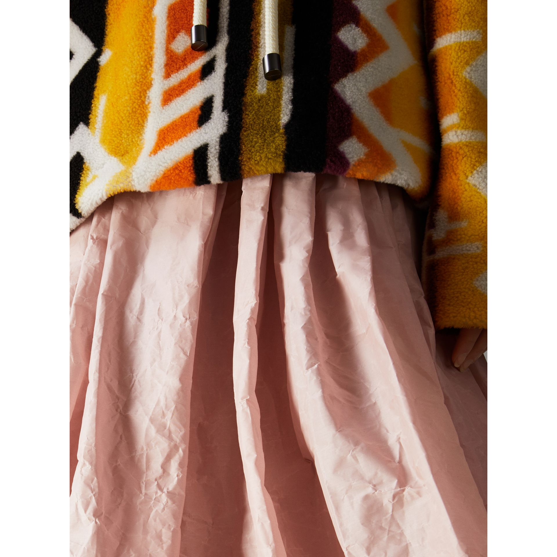 Coated Cotton Blend Maxi Skirt in Pale Rose - Women | Burberry - gallery image 1