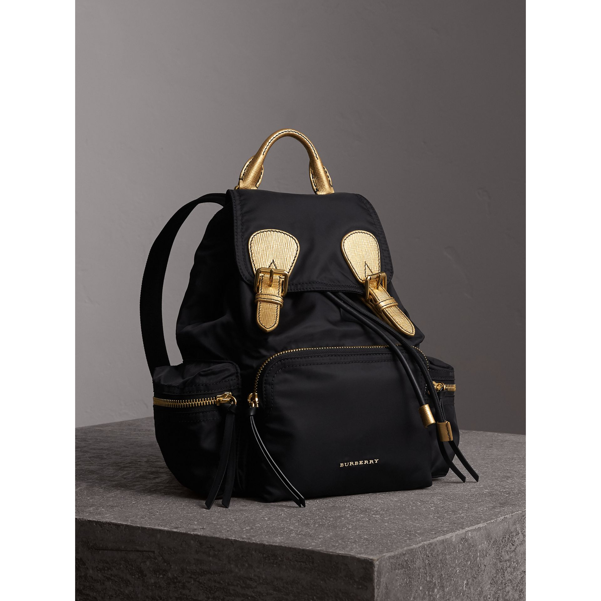The Medium Rucksack in Two-tone Nylon and Leather in Black/gold - Women | Burberry Canada - gallery image 0