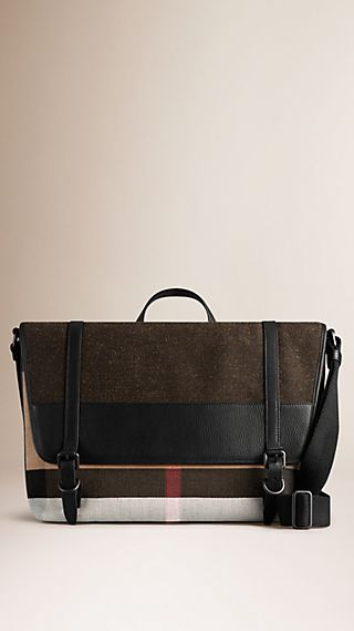 Canvas Check Messenger Bag