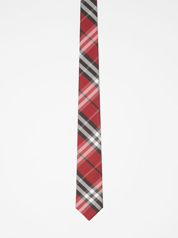 Modern Cut Vintage Check Silk Tie in Bright Red - Men | Burberry United Kingdom - cell image 3