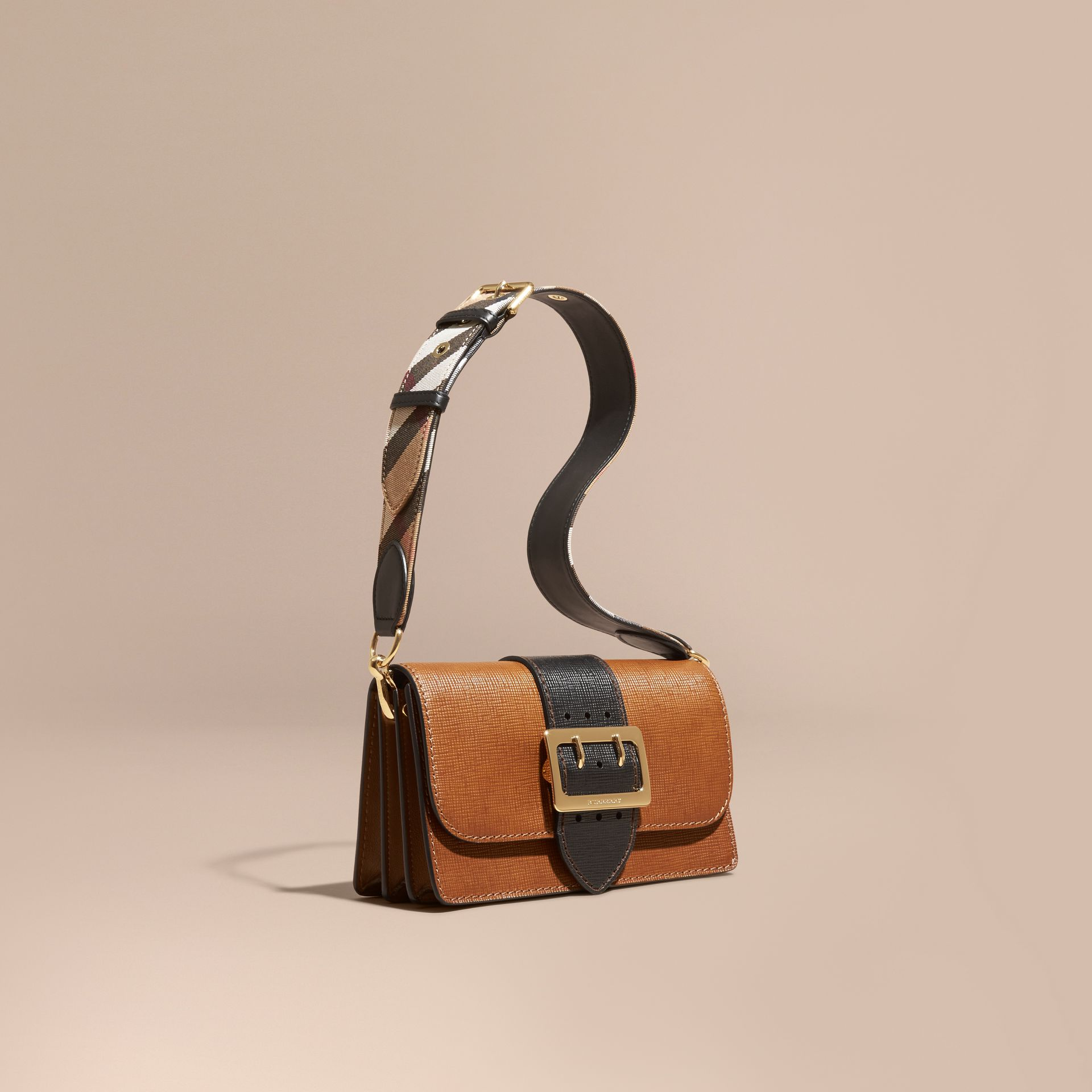 Tan/black The Medium Buckle Bag in Textured Leather Tan/black - gallery image 1