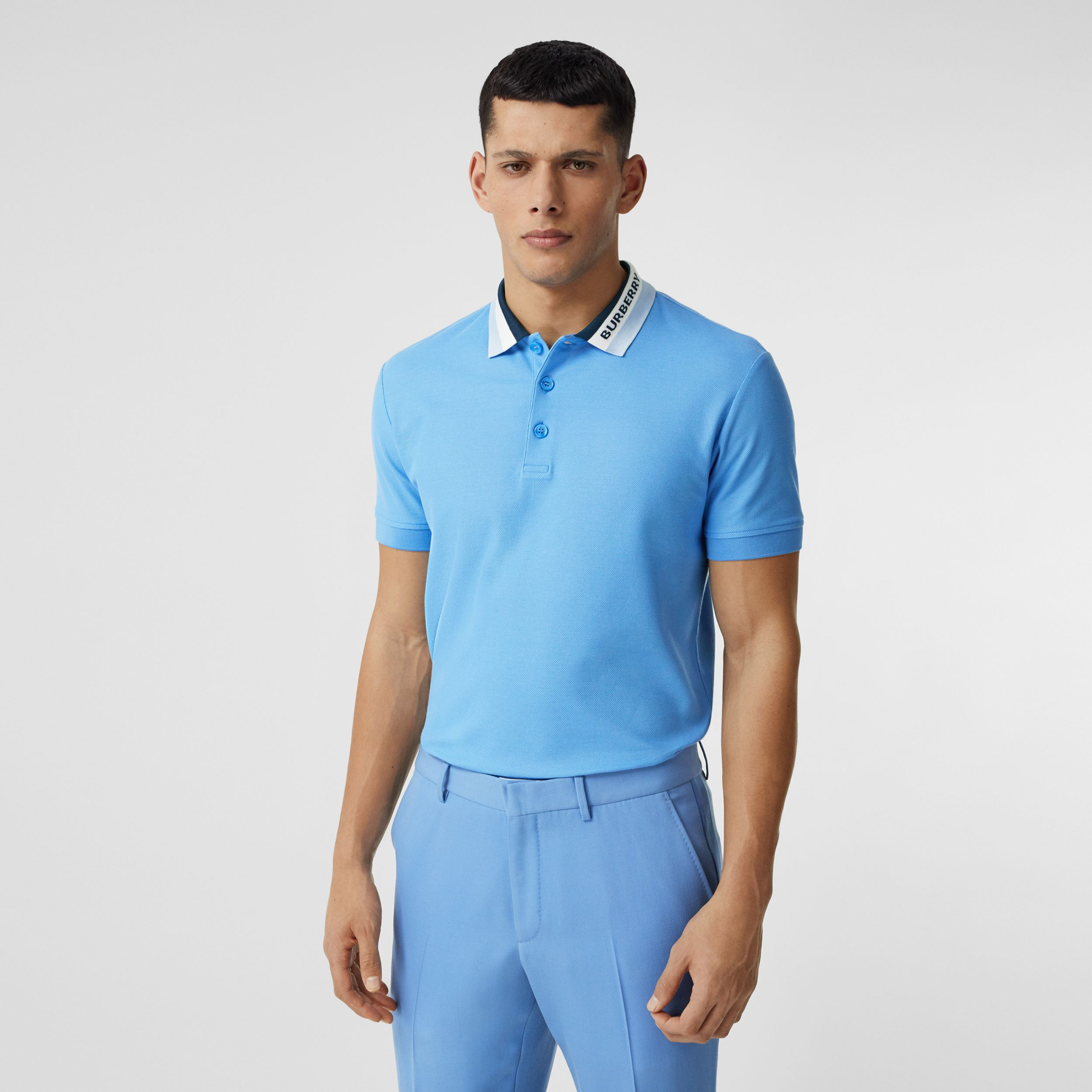 Logo Detail Cotton Piqué Polo Shirt in Vivid Cobalt - Men | Burberry - 1