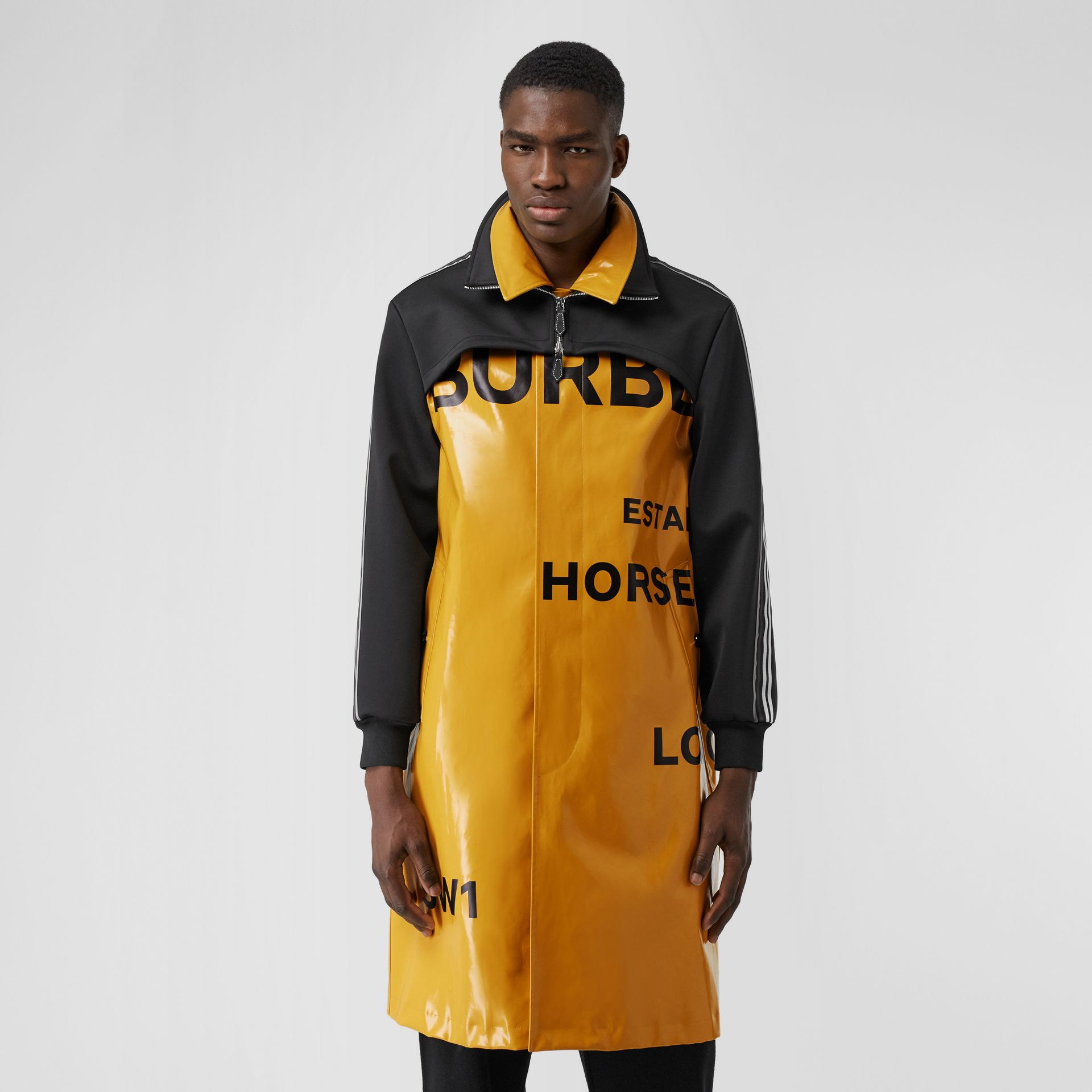 Track Top Panel Horseferry Print Car Coat in Yellow - Men | Burberry United Kingdom - gallery image 5
