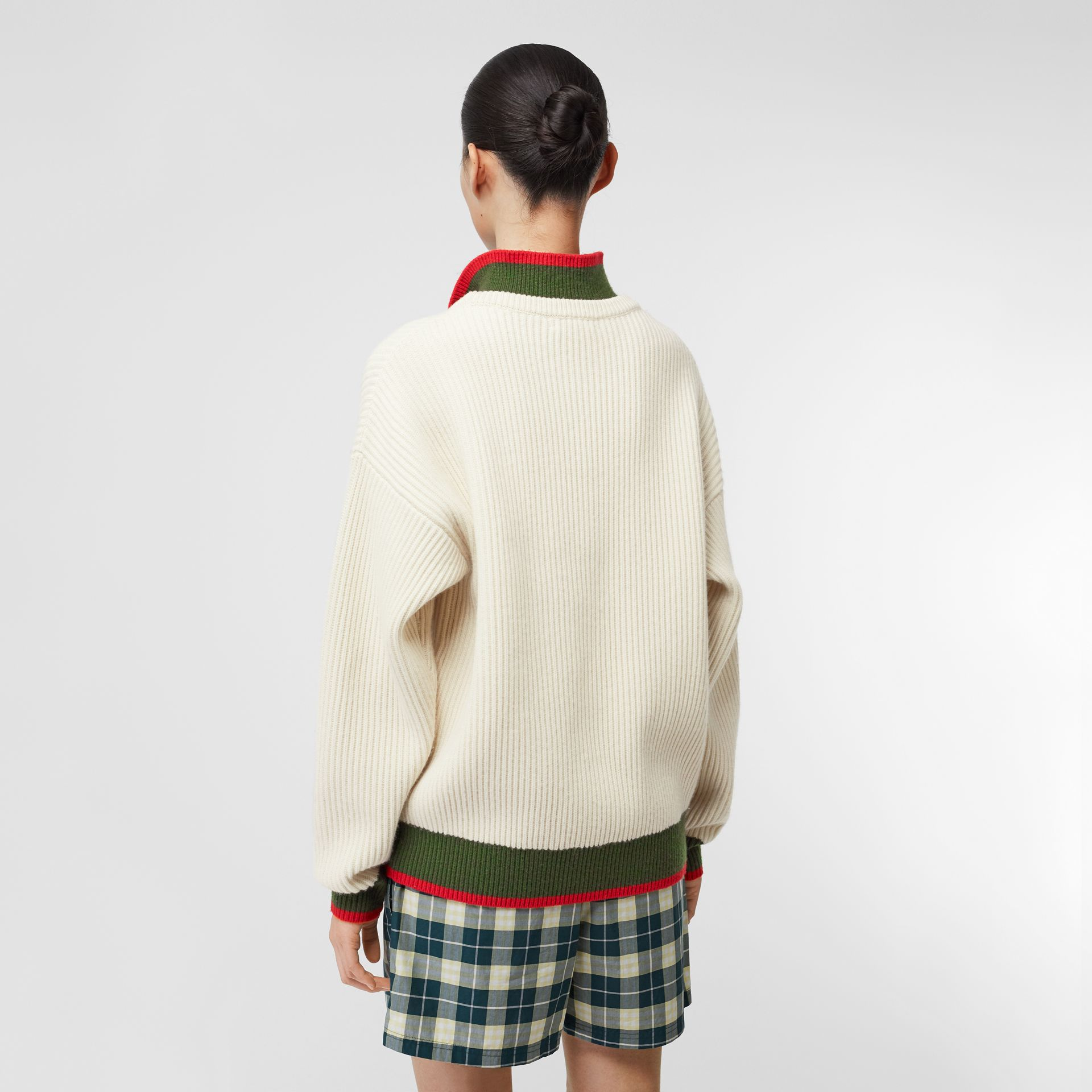 Rib Knit Wool Cashmere Sweater in Ivory - Women | Burberry United States - gallery image 2