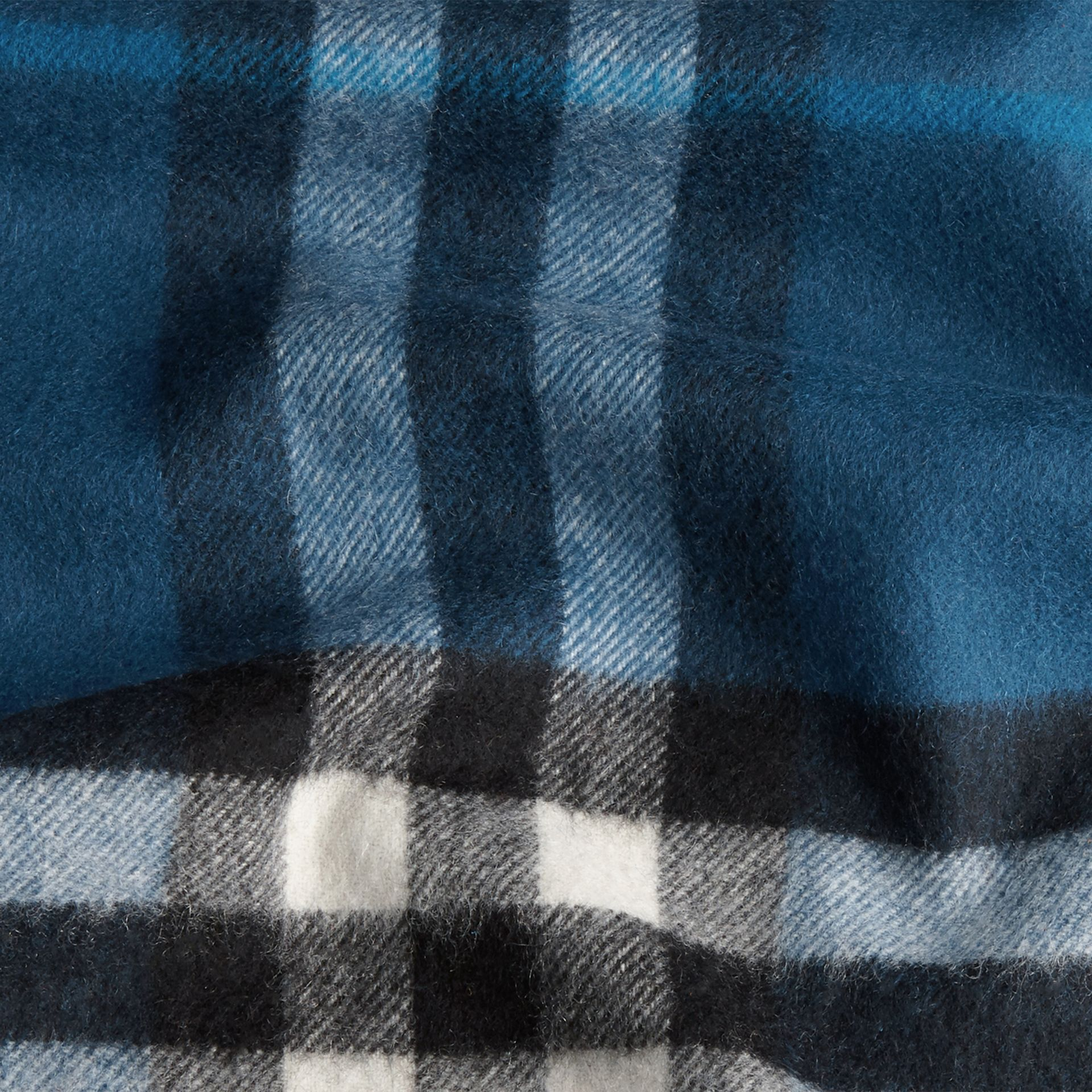Marine blue The Classic Cashmere Scarf in Check Marine Blue - gallery image 5