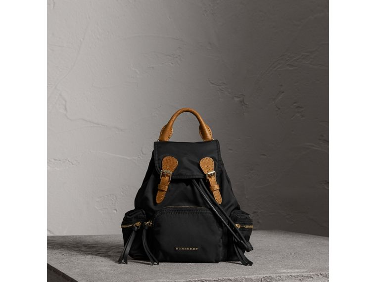 The Small Rucksack in Technical Nylon and Leather in Black - Women | Burberry Hong Kong - cell image 1