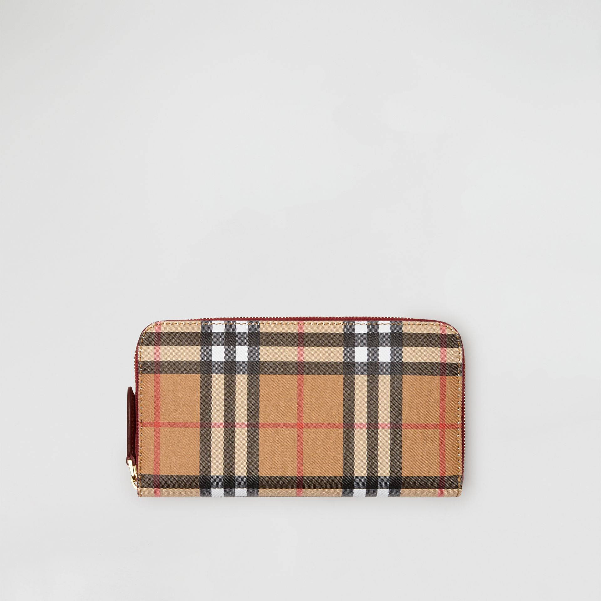Vintage Check and Leather Ziparound Wallet in Crimson - Women | Burberry Canada - gallery image 0