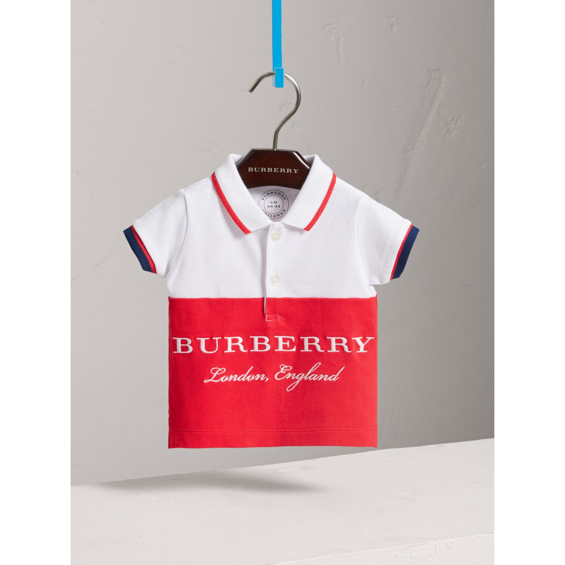Tipped Cotton Piqué Polo Shirt in Bright Orange Red | Burberry - gallery image 3