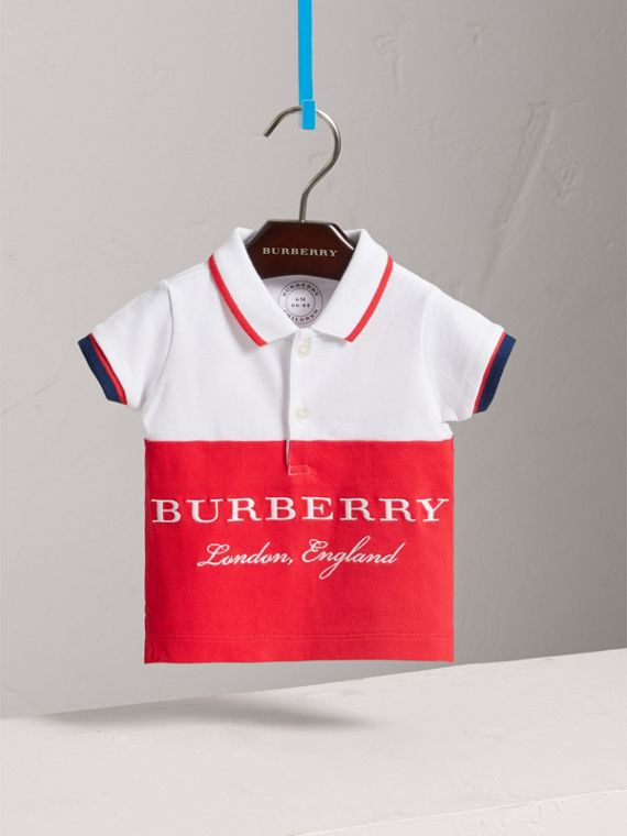 Tipped Cotton Piqué Polo Shirt in Bright Orange Red | Burberry United Kingdom - cell image 2