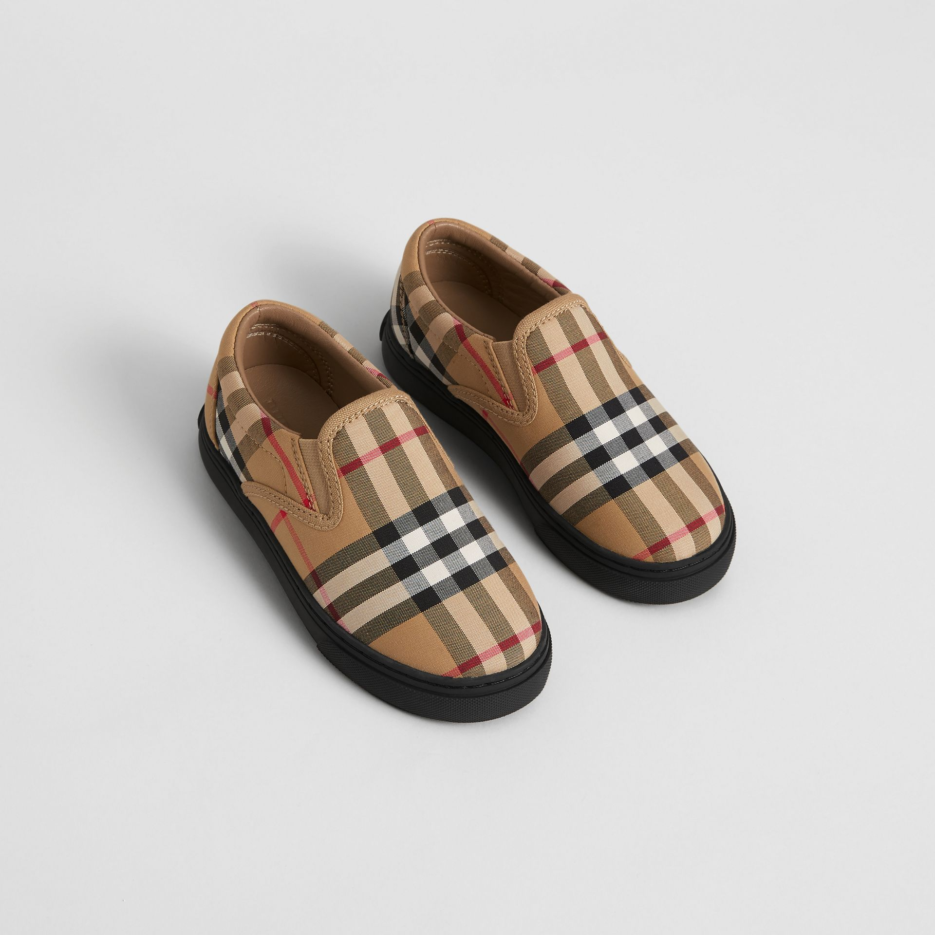 Vintage Check and Leather Slip-on Sneakers in Antique Yellow/black - Children | Burberry - gallery image 0
