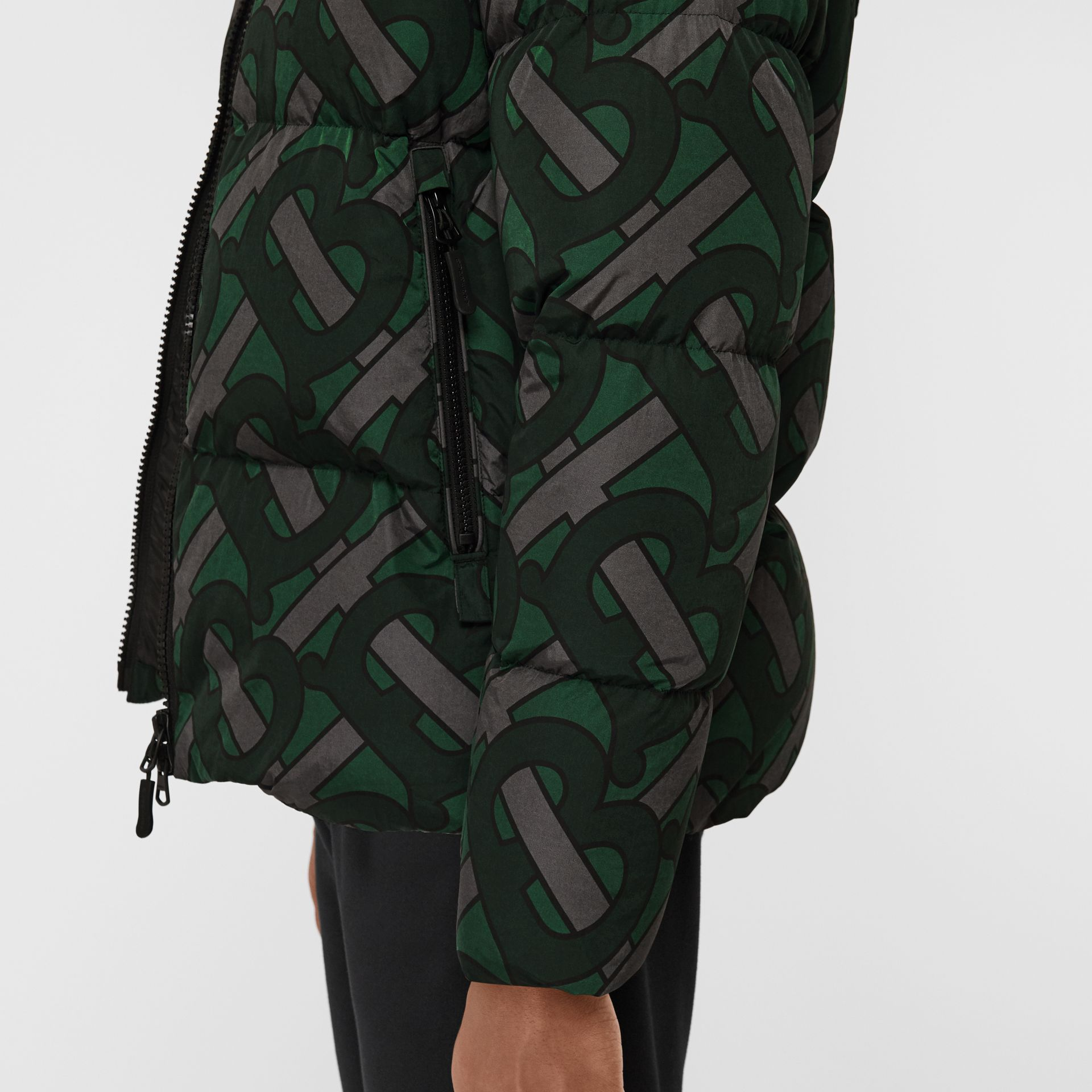 Monogram Print Puffer Jacket in Forest Green | Burberry - gallery image 4