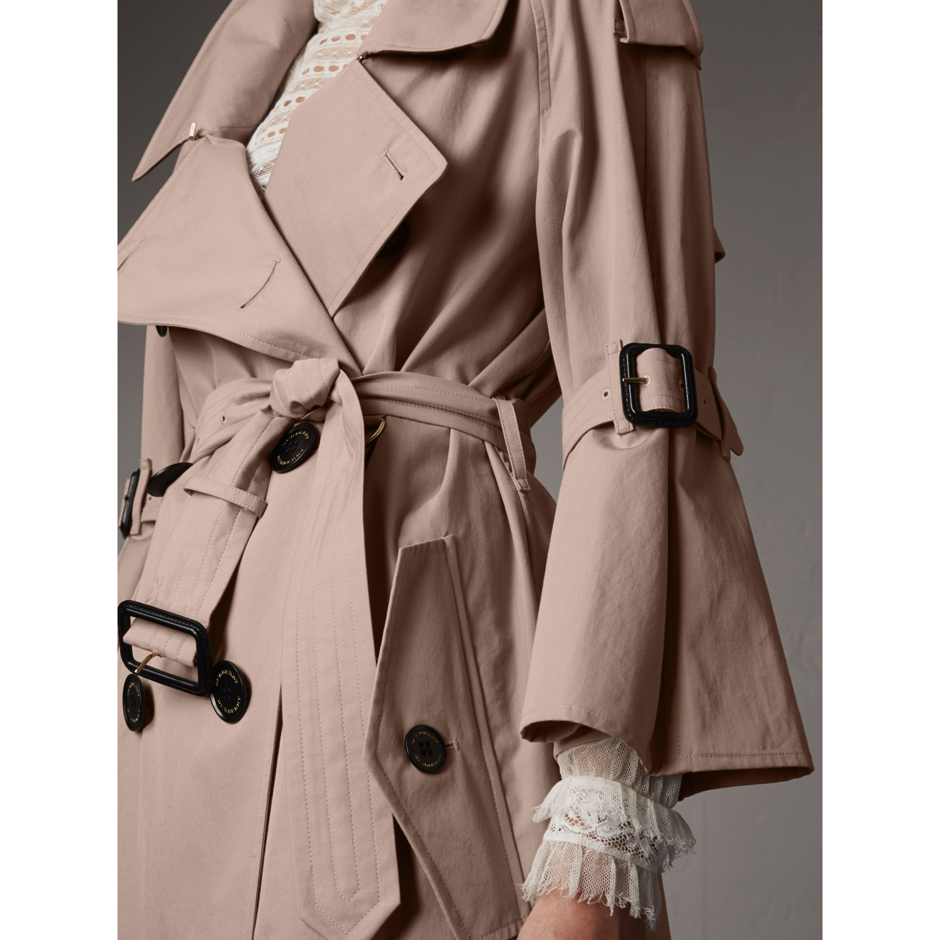 Flared Sleeve Tropical Gabardine Trench Coat in Antique Taupe Pink - Women | Burberry - gallery image 2