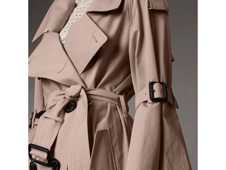 Flared Sleeve Tropical Gabardine Trench Coat - cell image 1