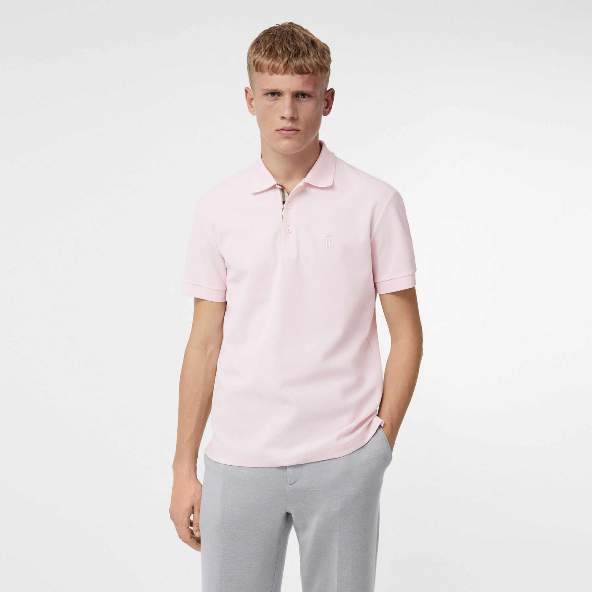Monogram Motif Cotton Piqué Polo Shirt in Alabaster Pink - Men | Burberry United Kingdom - gallery image 4