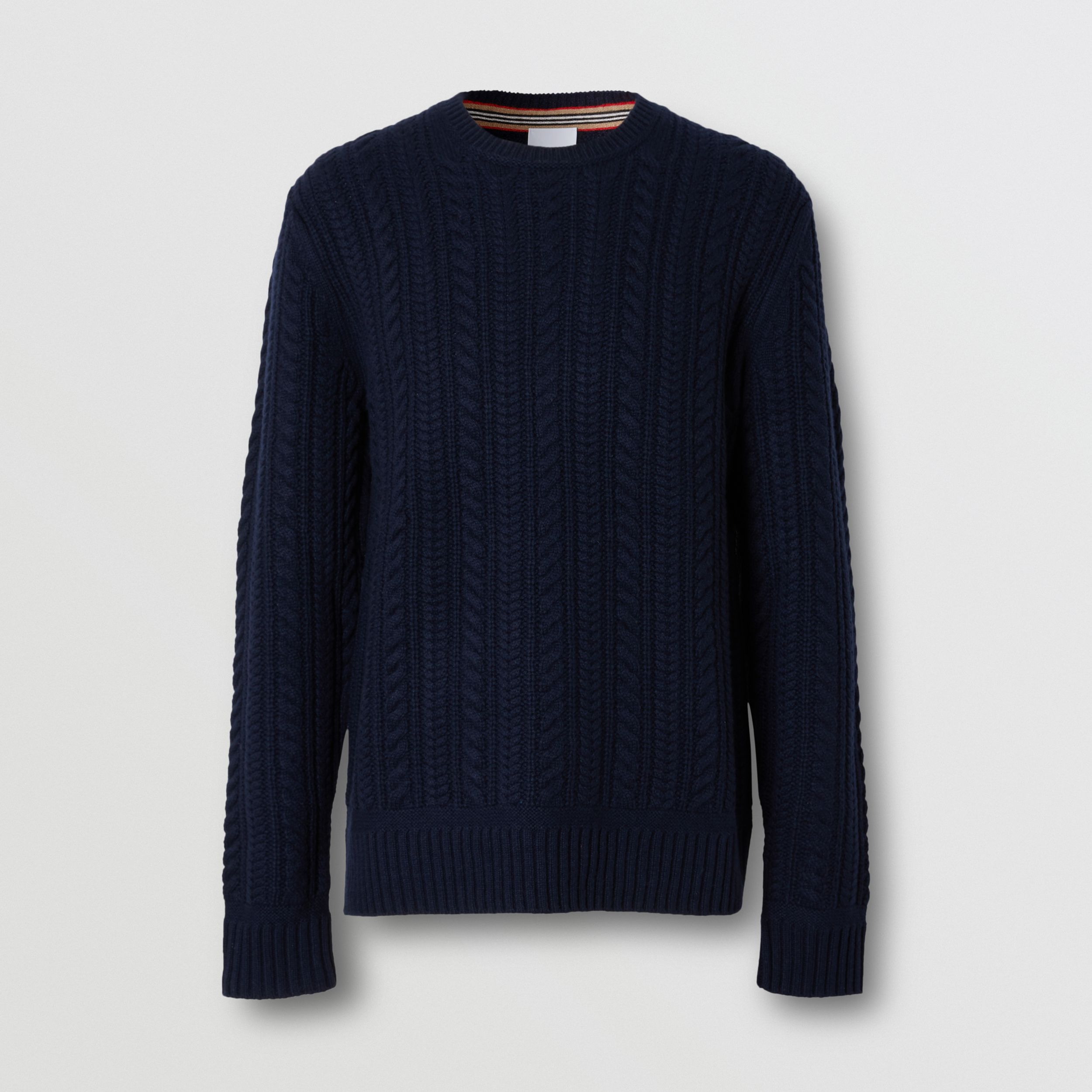 Cable Knit Cashmere Sweater in Navy - Men | Burberry - 4