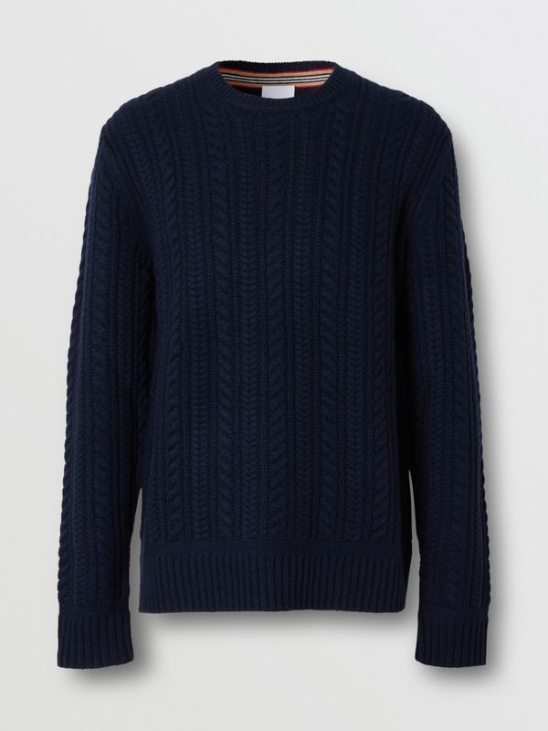 Cable Knit Cashmere Sweater in Navy - Men | Burberry - cell image 3