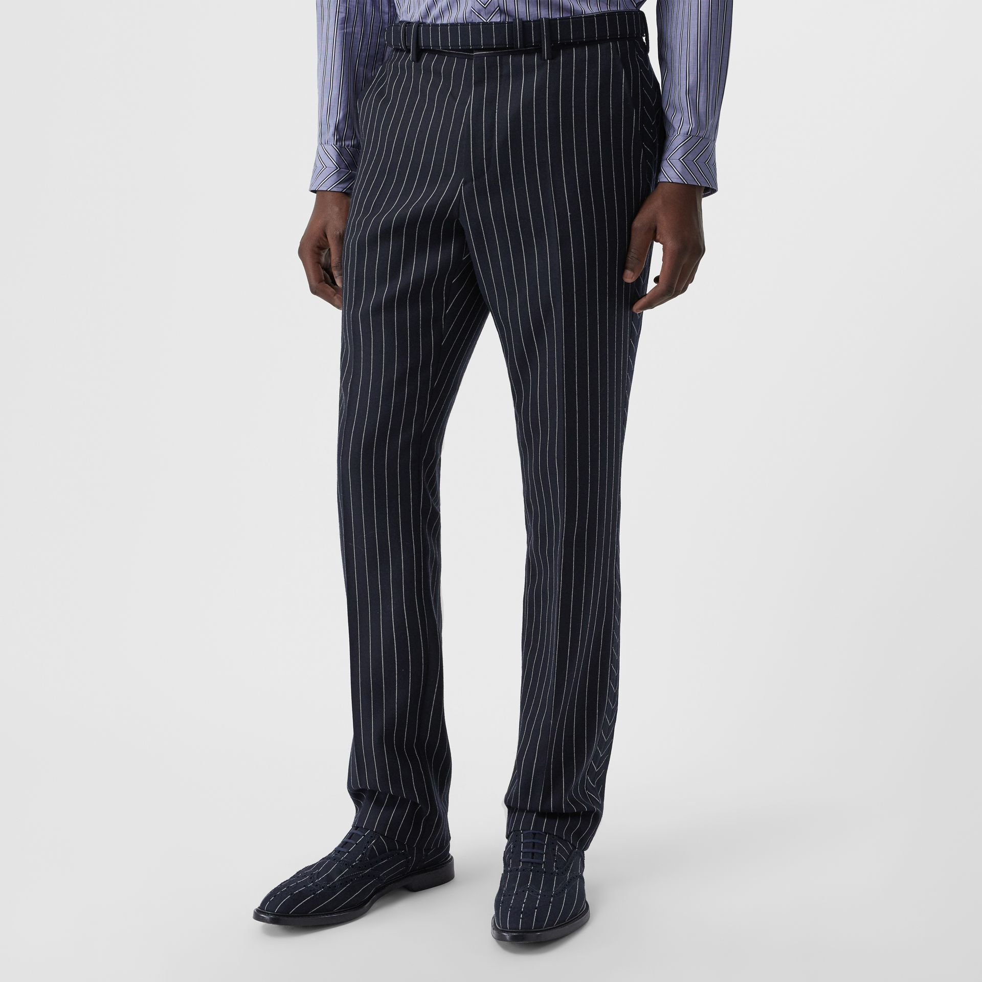 Classic Fit Pinstriped Wool Tailored Trousers in Dark Navy/white | Burberry - gallery image 4