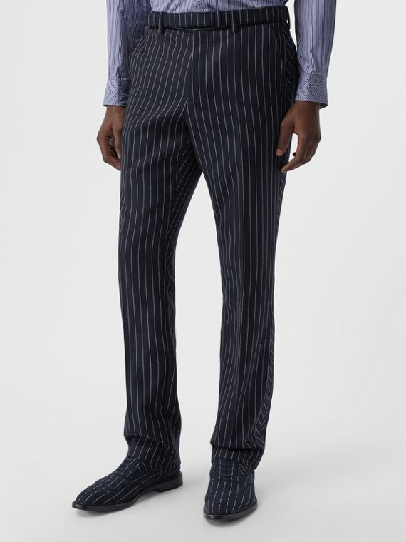 Classic Fit Pinstriped Wool Tailored Trousers in Dark Navy/white