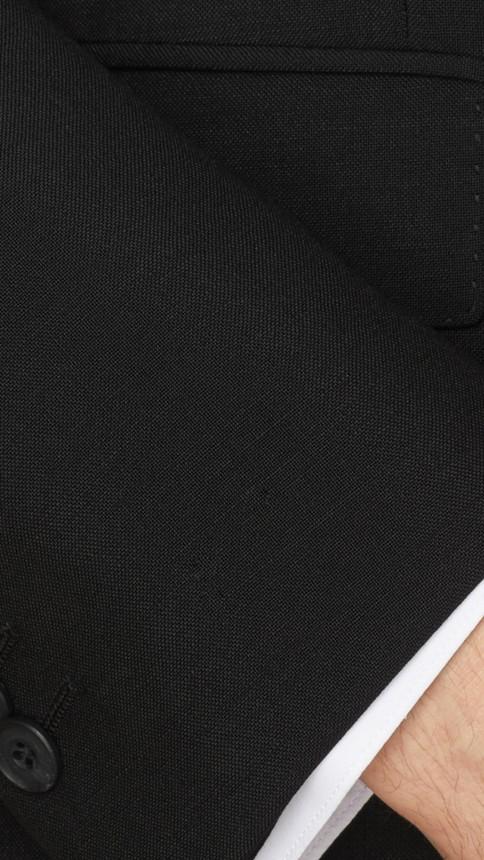 Black Modern Fit Wool Mohair Part-canvas Suit Black - Image 2