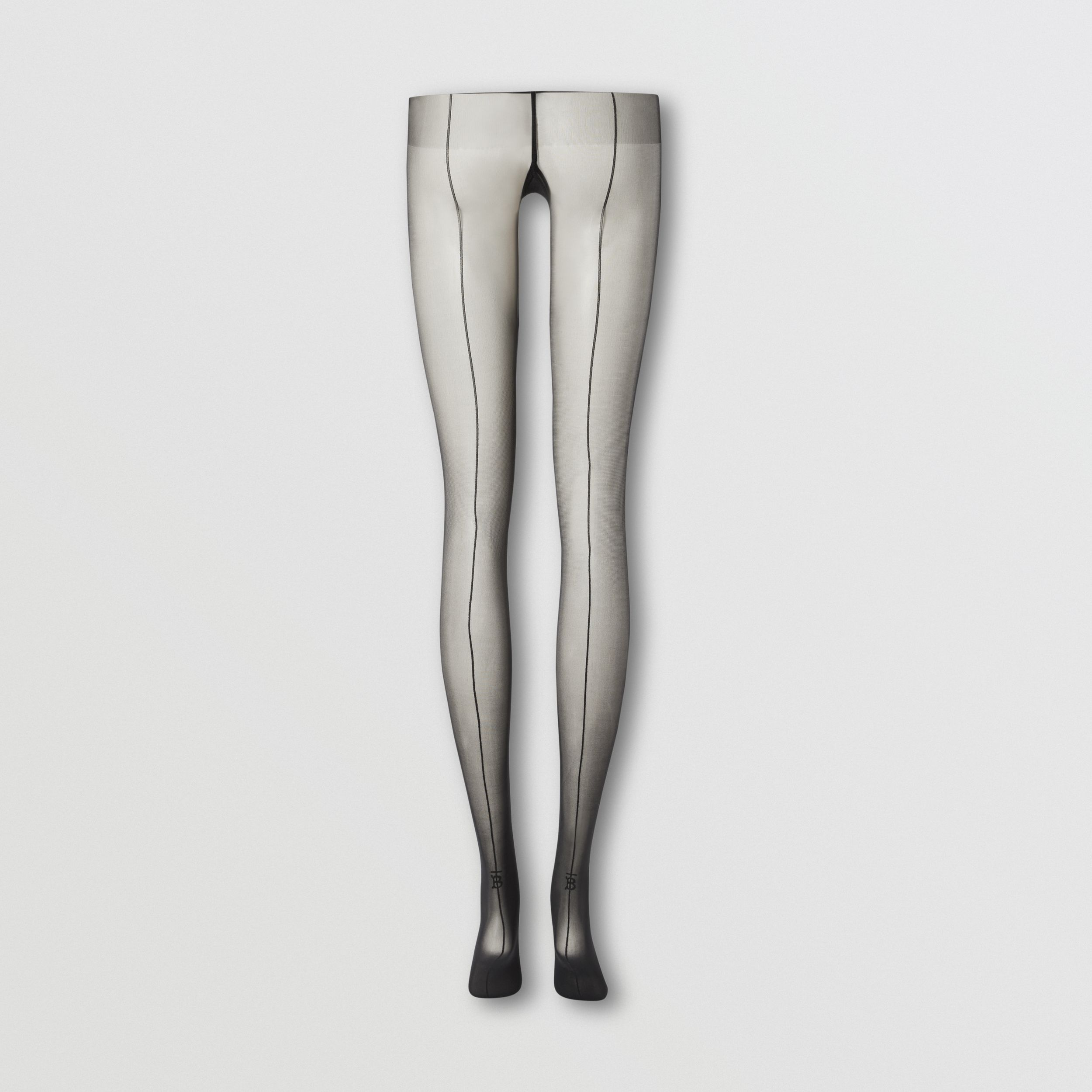 Monogram Motif Seamed Tights in Black - Women | Burberry - 4