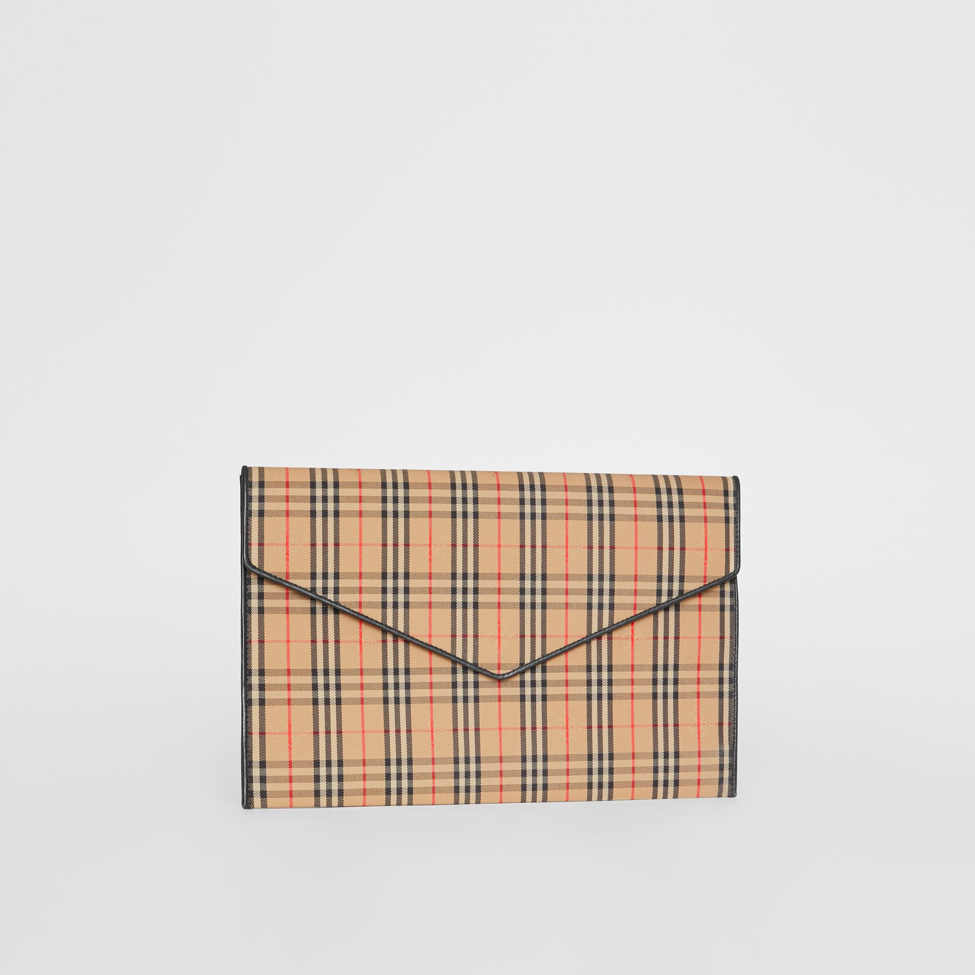 Large 1983 Check Envelope Pouch in Black - Women | Burberry - gallery image 4
