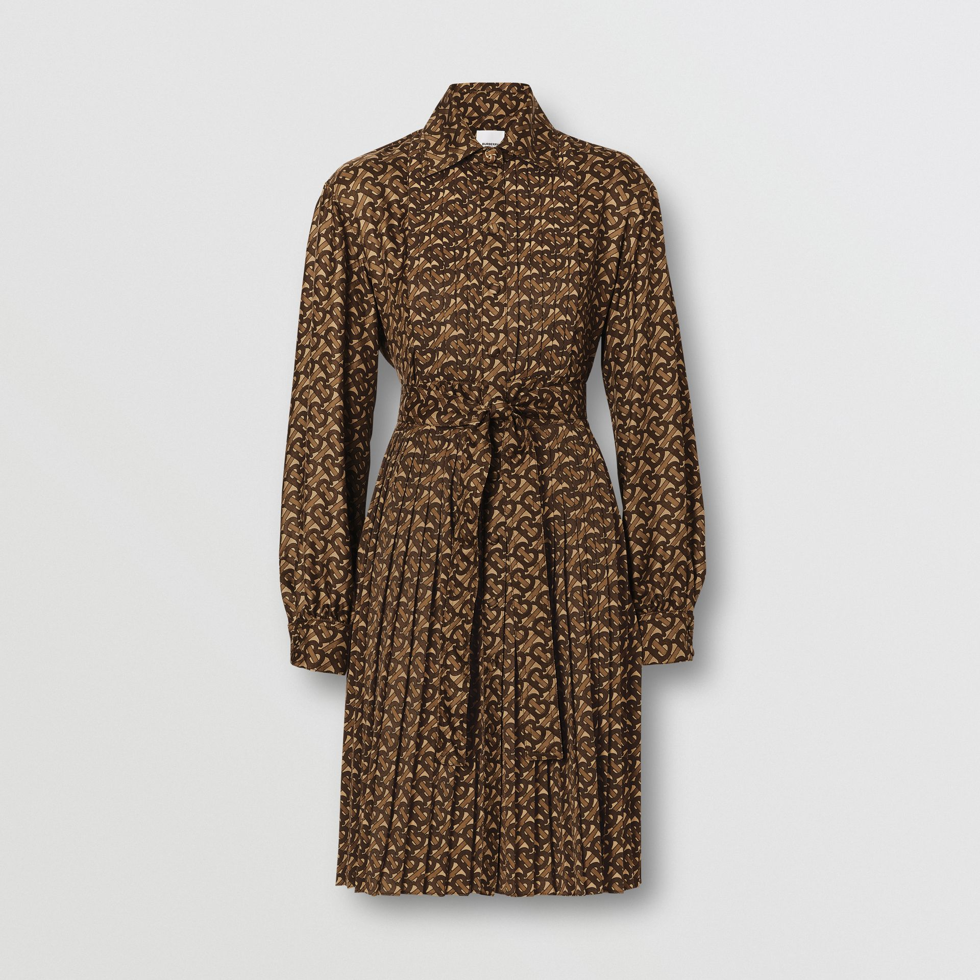 Pleated Monogram Print Jersey Tie-waist Shirt Dress in Bridle Brown - Women | Burberry - gallery image 3