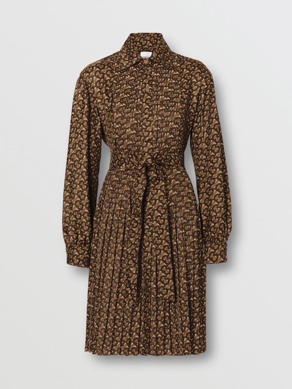 Pleated Monogram Print Jersey Tie-waist Shirt Dress in Bridle Brown - Women | Burberry - cell image 3