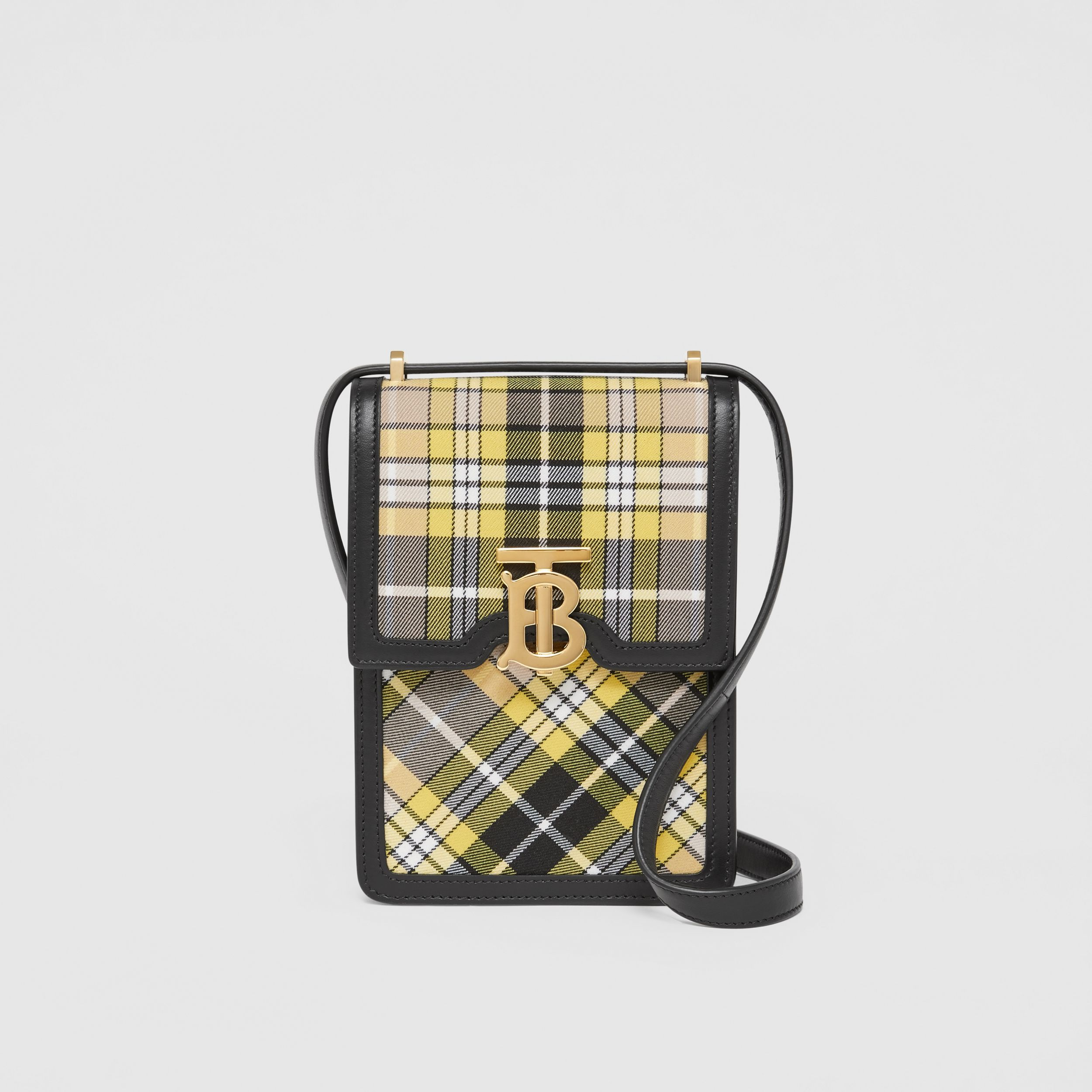 Tartan Cotton and Leather Robin Bag in Marigold Yellow - Women | Burberry - 1