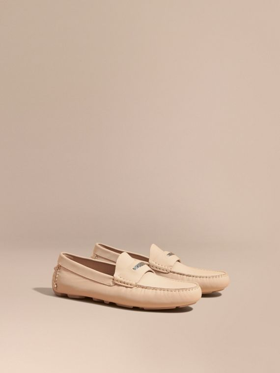 Leather Loafers with Engraved Check Detail in Beige