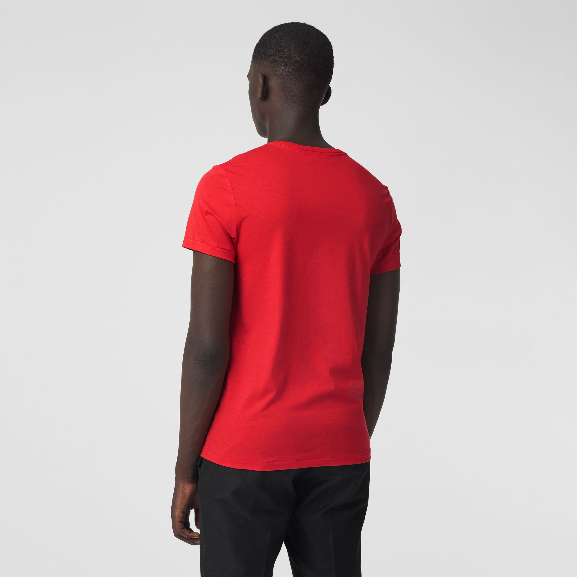 Cotton Jersey T-shirt in Bright Red - Men | Burberry Australia - gallery image 2