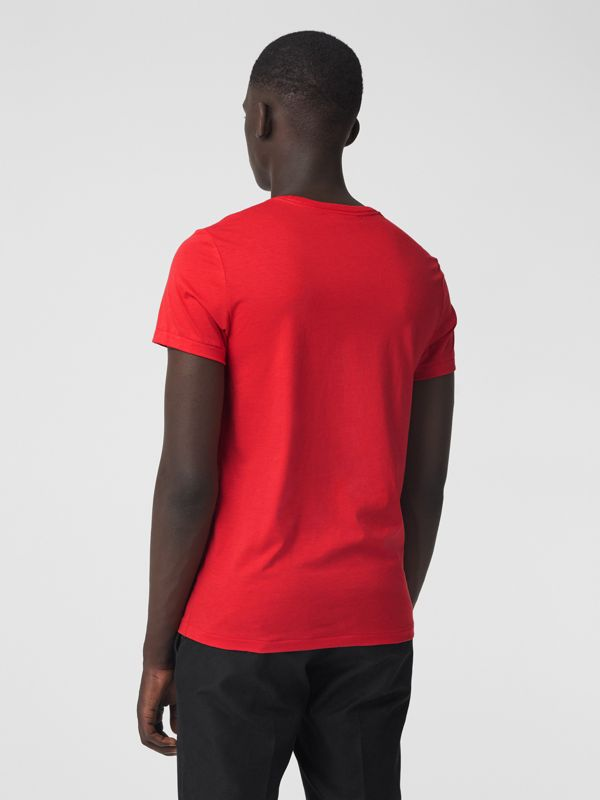 Cotton Jersey T-shirt in Bright Red - Men | Burberry Australia - cell image 2