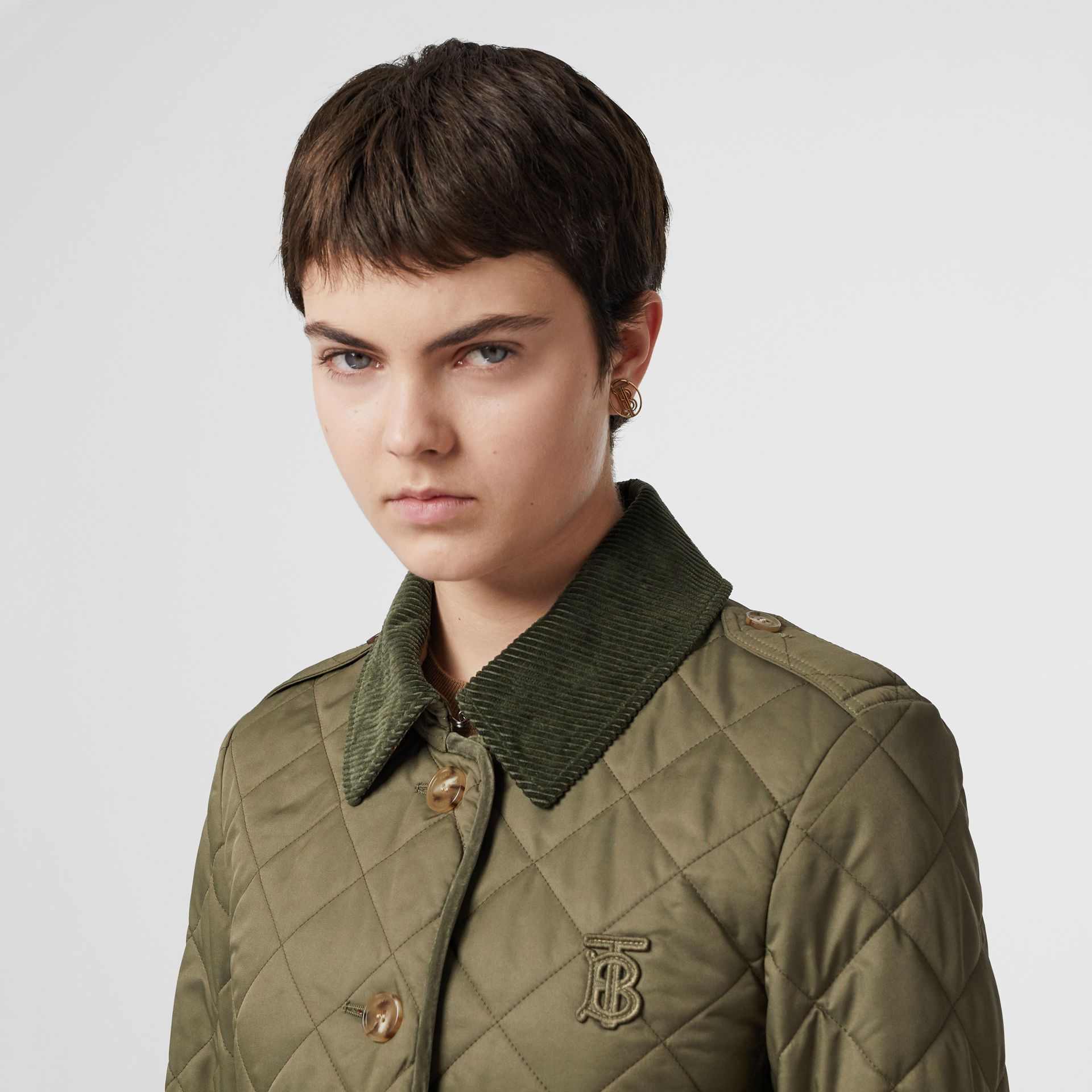 Monogram Motif Diamond Quilted Jacket in Olive Green - Women | Burberry - gallery image 4