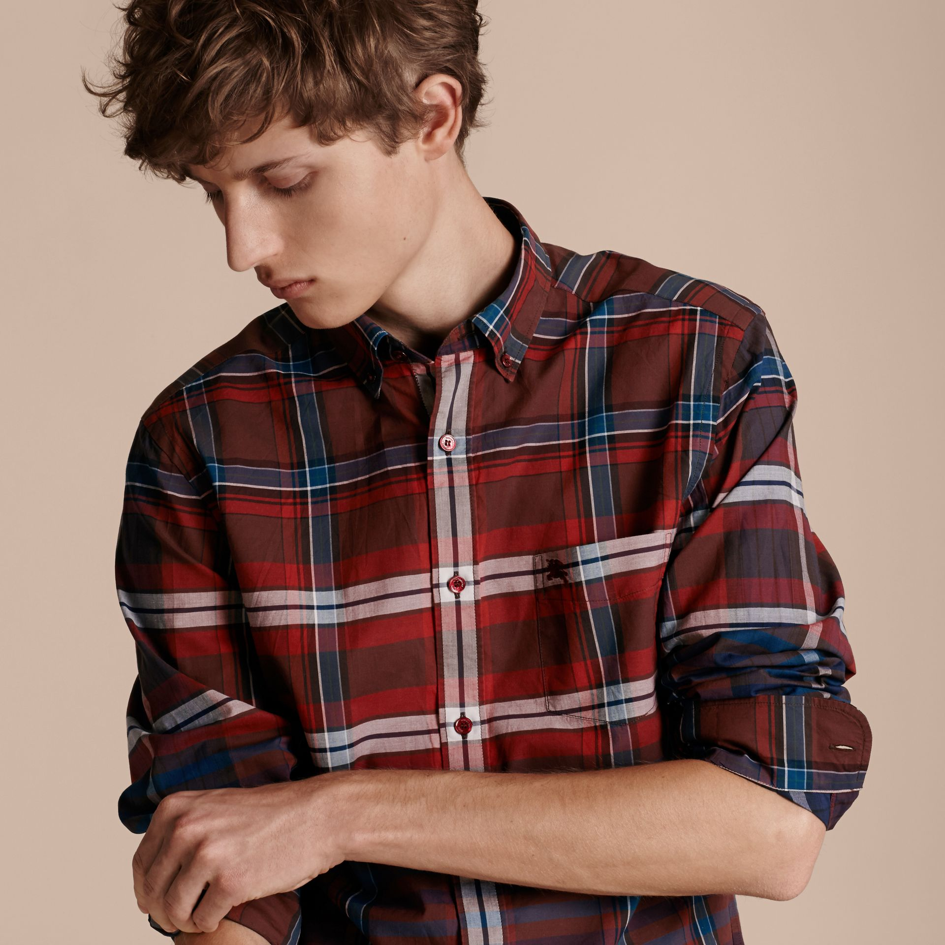Burgundy red Button-down Collar Check Cotton Shirt Burgundy Red - gallery image 5